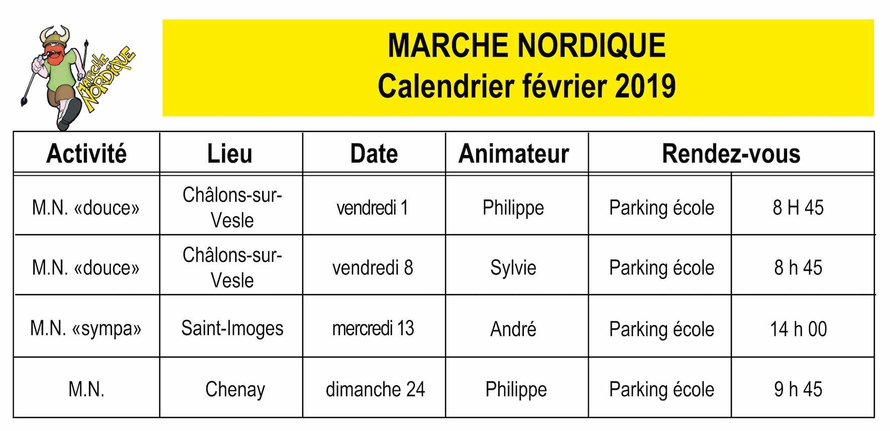 Fevrier Calendrier.Le Calendrier Des Marches Nordiques Du Mois De Fevrier 2019