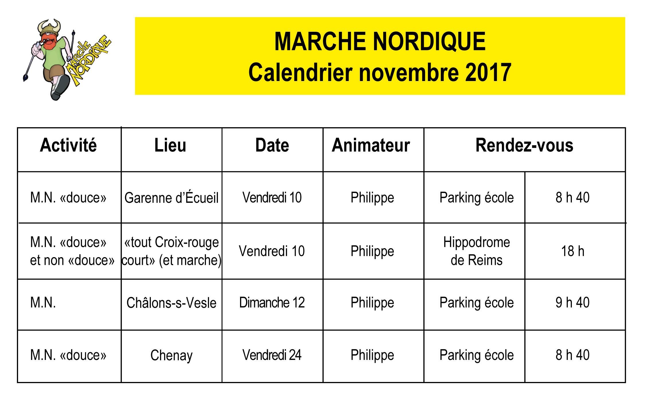 le calendrier des marches nordiques du mois de novembre 2017. Black Bedroom Furniture Sets. Home Design Ideas